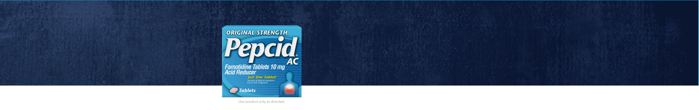 original strength pepcid ac package in front of dark blue background