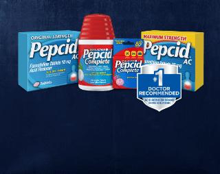original strength pepcid ac, pepcid complete, pepcid on-the-go, and maximum strength pepcid ac packages