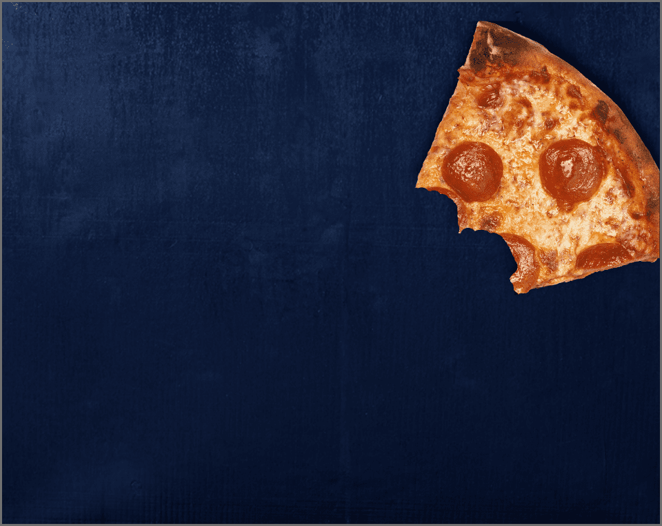 partially eaten pepperoni pizza slice