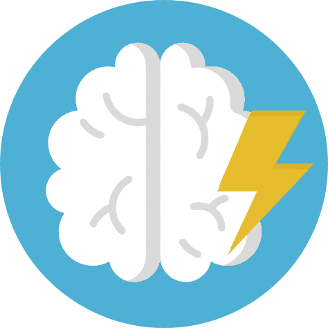 drawing of brain with lightning bolt