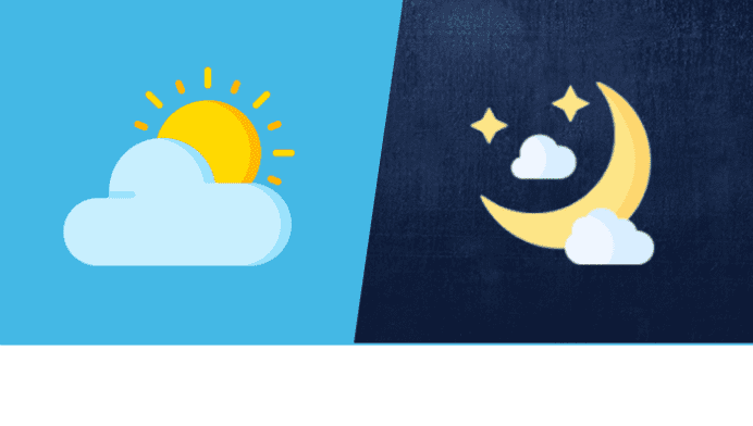 Day and night cartoon with sun, clouds and moon with clouds